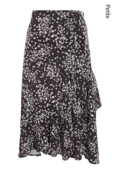 Petite Black Floral Wrap Skirt